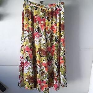 Talbots pure silk floral skirt
